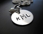 Stamped Monogram Necklace Three Letters Sterling Silver Pendant Freshwater Pearl