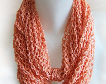 salmon pink infinity scarf, circle scarf, chain scarf, handmade, crochet, accessory, lady gift, spring