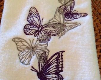 Butterflies - Cascade - Fingertip Velour Bathroom Towel - JD Designs