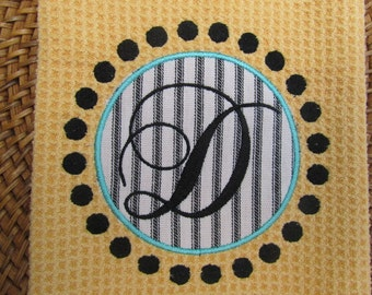 Monogram and Circle Dots Applique - Embroidery (Butter) - Black & White Ticking - Microfiber Waffle Weave Kitchen Towel