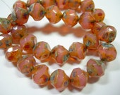 15 8mm Pink Opal Picasso faceted Firepolished Thru Cuts Czech Glass Beads