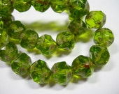 15 8mm Olivine Green Picasso faceted Firepolished Thru Cuts Czech Glass Beads