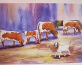 Cows with Goat 5 x 7 note card watercolor print by waterscolorsNmore art greeting card