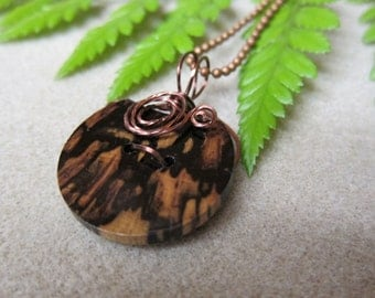 REDUCED Button Pendant Black & White Ebony Exotic Wood non tarnish Antique copper Wire wrapped by watercolorsNmore.