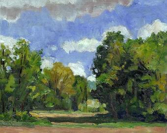 Oil Painting Landscape, Field in Vermont. Small 5x7 Original Plein Air Impressionist Fine Art on Panel, Signed Original American Realist Oil
