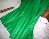 From Paris an amazing pure silk 19th century emerald green moire taffeta  1 yd.