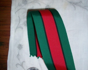 antique red and forest striped grosgrain ribbon 1 1/2 ""