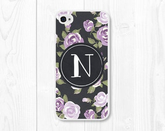 iPhone 6 Plus Case Monogram iPhone 5c Case Floral iPhone 6 Case Custom iPhone 5 Case Personalized iPhone 5s Case Purple iPhone Case