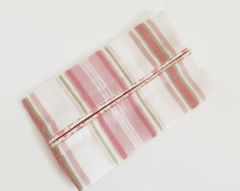 Pastel Pink Stripes, Travel Tissue Cozy , Kleenex Pouch
