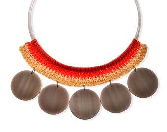 Grey discs Vintage plastic Collar Statement Necklace