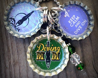 Green Diving Mom Themed Bottle Cap Necklace