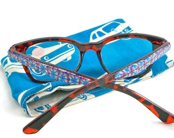 Fun eyeglasses with embellished sides and retro fabric case