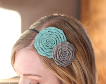 Aqua Blue and Grey Double Folded Flower Headband for Women