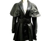 Leather Caped Trench Coat Womens Black Leather Fetish Little Red Riding Hood Jacket Wms Size Medium