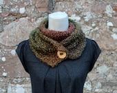 SCARF knitted chunky - Herb Garden button scarf, womens green brown vegan knitwear UK