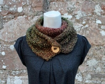 SCARF knitted chunky - Herb Garden button scarf, womens green brown vegan knitwear UK
