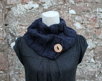 SCARF knitted Charcoal grey, crinkle infinity loop button scarf, gray scarf, knitwear UK