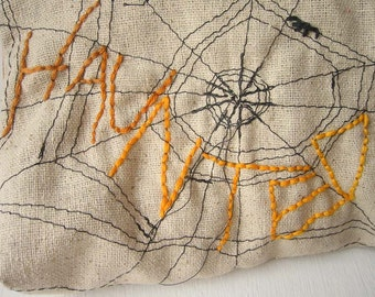 Haunted - Zipper Pouch - Hand Embroidered and Machine Stitched - Limited Edition - Halloween Bag - One of a Kind Spider Web Purse
