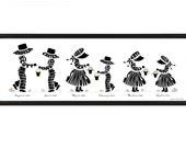 Personalized Silhouette Print of Children or Grandchildren, 19x6.5 Panorama Framed Print, 4 to 6 children, Grandparent Gift
