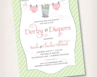 Derby and Diapers Printable Invitation - Baby Shower Party Brunch Luncheon