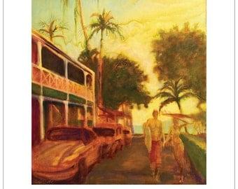 Surf Lahaina Maui Surfers Large Poster 18x24 Love Surf art Surf poster surf board romantic beach decor