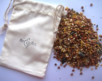25 Bird seed filled muslin drawstring bags- hand stamped with Mr and Mrs