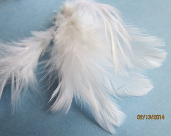 "SALE Rooster SCHLAPPEN Feathers (20+ inch strip) - Strung Dyed WHITE - Individual feathers 3.5-4"" long."
