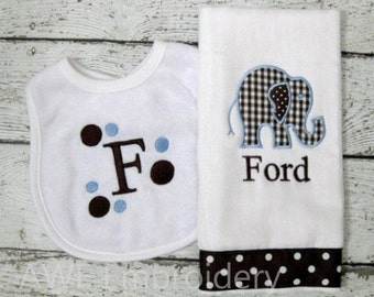 Monogrammed Elephant Burp Cloth and Bib  Gift Set for Baby Boy - Personalized