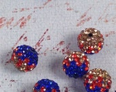 10 Dark Blue, Gold & Red with AB Crystals Shamballa Beads, Disco Ball Beads, Rhinestone Beads, 10mm, Qty 10