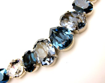 christmas Swarovski navy blue tone multi color vintage multi shape foiled pendant crystal rhinestone chunky bib statement necklace