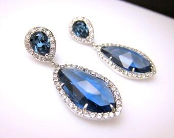 wedding jewelry bridal jewelry wedding earrings bridal earrings Clear white teardrop AAA cubic zirconia and blue navy crystal on cz post