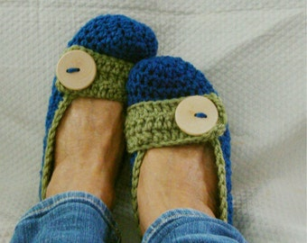 Crochet Slippers Womens Flats  Blue Green