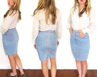 vintage skirt 80s mini jean denim 1980s womens clothing high waisted striped gitano size small s