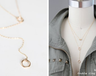 Double Ring Lariat Necklace - Gold Filled or Sterling Silver - Amara