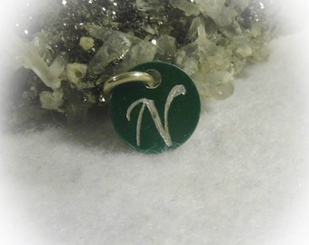 Letter N Hand Engraved Green Personalized Small  Charm 1/2 inch