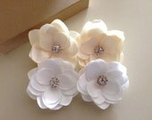 Pure White ,Off White, Ivory Bridal Hair Clip Roses with Rhinestones  Satin Flower  Handmade Wedding