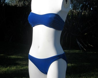 SUMMER SALE  Vintage Norma Kamali blue velvet ruched bikini 1980s excellent cond
