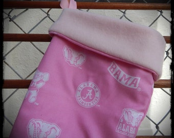 PINK Alabama Crimson Tide Print and Fleece Christmas Stocking