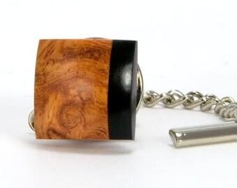 Wood Tie Clip - Amboyna Burl Ebony Tie Tack – Gift Idea For Fathers Day, Wedding Party, Groomsmen, Best Man, Anniversary