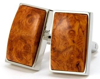 Wood Cufflinks | Amboyna Burl Silver Cufflinks | Unique Wooden Cuff links | Mens Cufflinks | Womens Cufflinks | Groomsmen Gift | Wedding