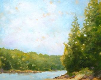 Falls Lake, North Carolina Landscape, Southern Landscape, Lake, Original Oil Painting