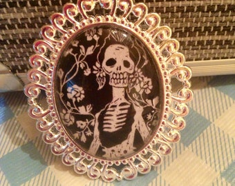 Day of the Dead Glass Dome Cameo Necklace