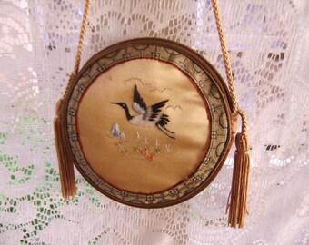 Vintage Silk Embroidery Birds Flowers Tassels Round Zipper Oriental Purse