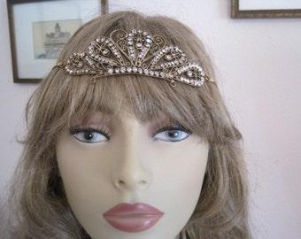 Vintage Rhinestone Bridal Tiara Crown Headband...Bridal...Wedding Headpiece