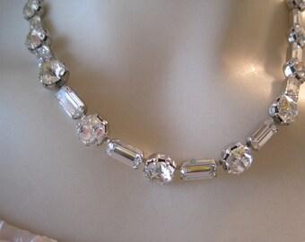 Vintage Weiss Rhinestone Necklace Bride Bridal Wedding Special Occasion