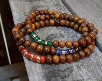 Beaded Gemstone and Wood - Stretch Boho 3 Stack Bracelets - Red, Indigo and Green - Chakra Bracelets