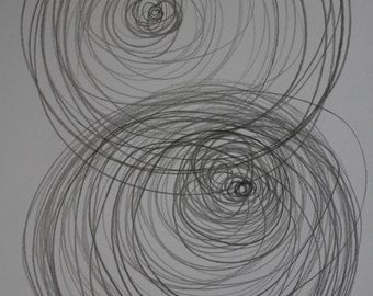 "Pencil drawing ""Energy"" grey sketch ORIGINAL art by FEW A5 Abstract modern minimalist decor"
