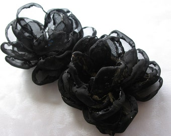 Evening Elegance Singed Black Organza Flower Pins