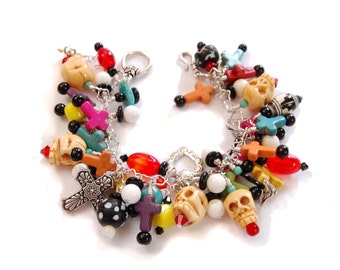 Colorful Frida Kahlo Day of the Dead Chunky Treasure Charm Bracelet  loaded with Skulls, Crosses, Vintage Beads, and Antique Trade Beads