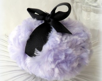 Lavender Powder Puff - soft lilac bath pouf - pastel purple and black - gift boxed, made by Bonny Bubbles